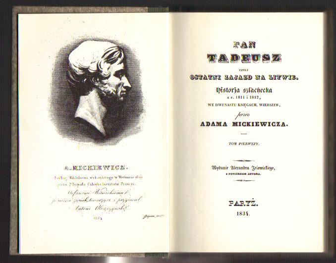 Pan Tadeusztomy 12reprint Wyd Z R1834 Adam Mickiewicz