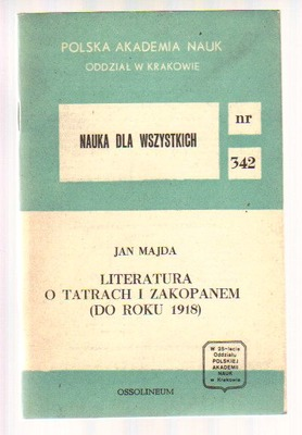 Literatura o Tatrach i Zakopanem (do roku 1918)